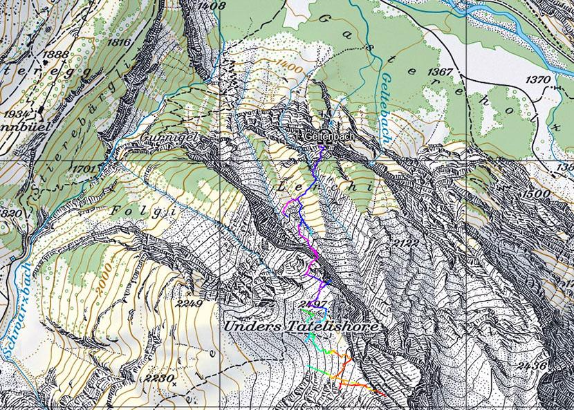 Höhlenverlauf. Karte: Bundesamt für Landestopographie