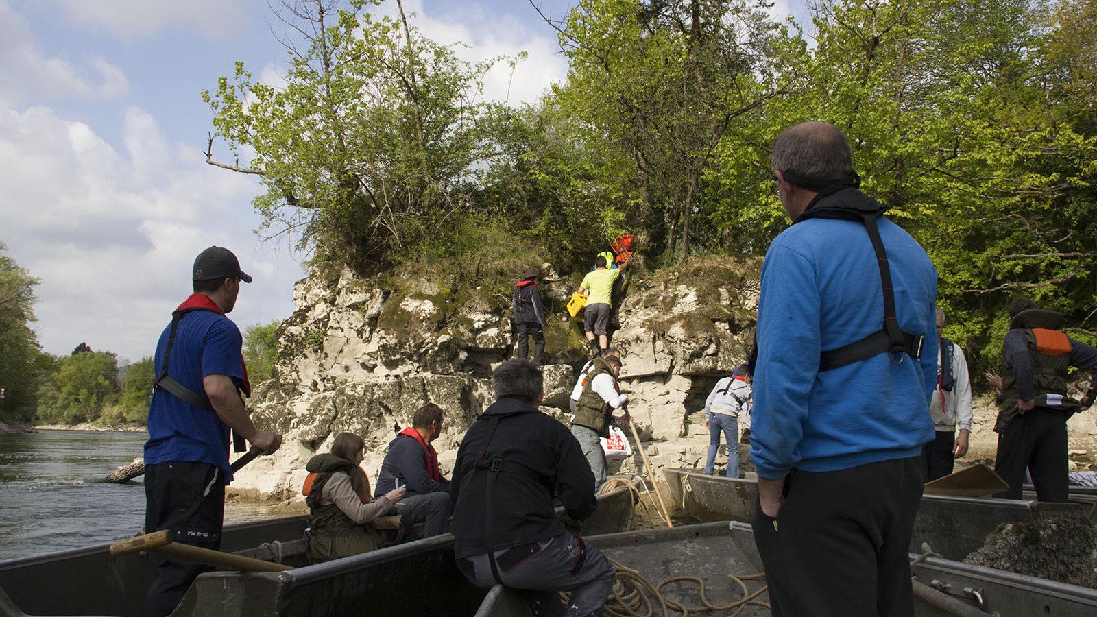Aufgrund des Niedrigwassers konnte der Loreley-Felsen bereits nach einer, statt der üblichen anderthalb Stunden erreicht werden