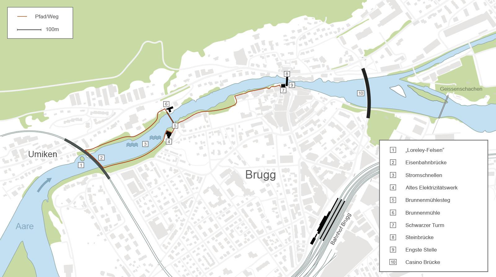 Übersicht zur Brugger Aareschlucht
