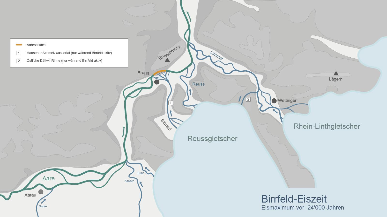 Während der Birrfeld oder Würm-Eiszeit fand die letzte Vergletscherung des Alpenvorlands statt. Kartenvorlage: LGM 1:500'000, Bundesamt für Landestopografie, A. Bini et al. (2009), ergänzt nach Keller & Krayss (2010)