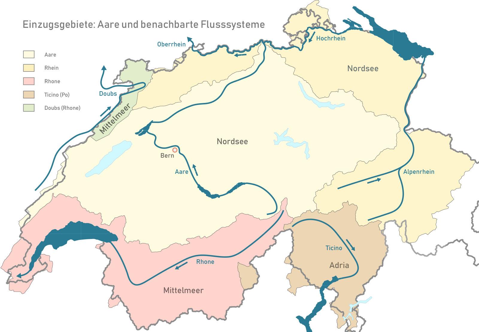 Gegenwärtige Einzugsgebiete der Aare und benachbarter Flusssysteme