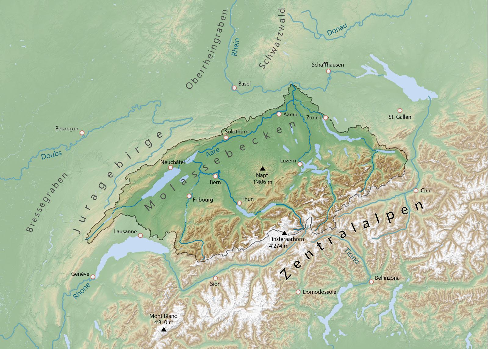 Einzugsgebiet und Topografie des Aaresystems. Karte: Erstellt mit QGIS, basierend auf NASA SRTM-Daten
