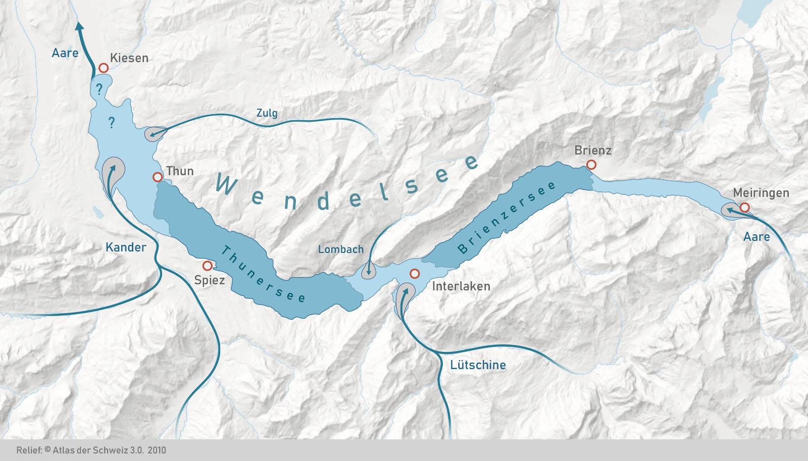 Die genauen Ausmasse des Wendelsees sind noch immer unbekannt. Dies betrifft vor allem die Gegend nördlich von Thun, wo auch Seeablagerungen aus der vorletzten Eiszeit erhalten sind