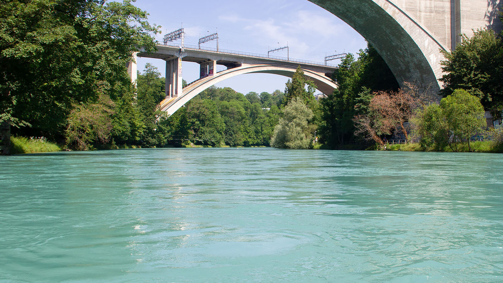 Hinter der Lorrainebrücke (im Hintergrund) muss leider schon ausgewassert werden