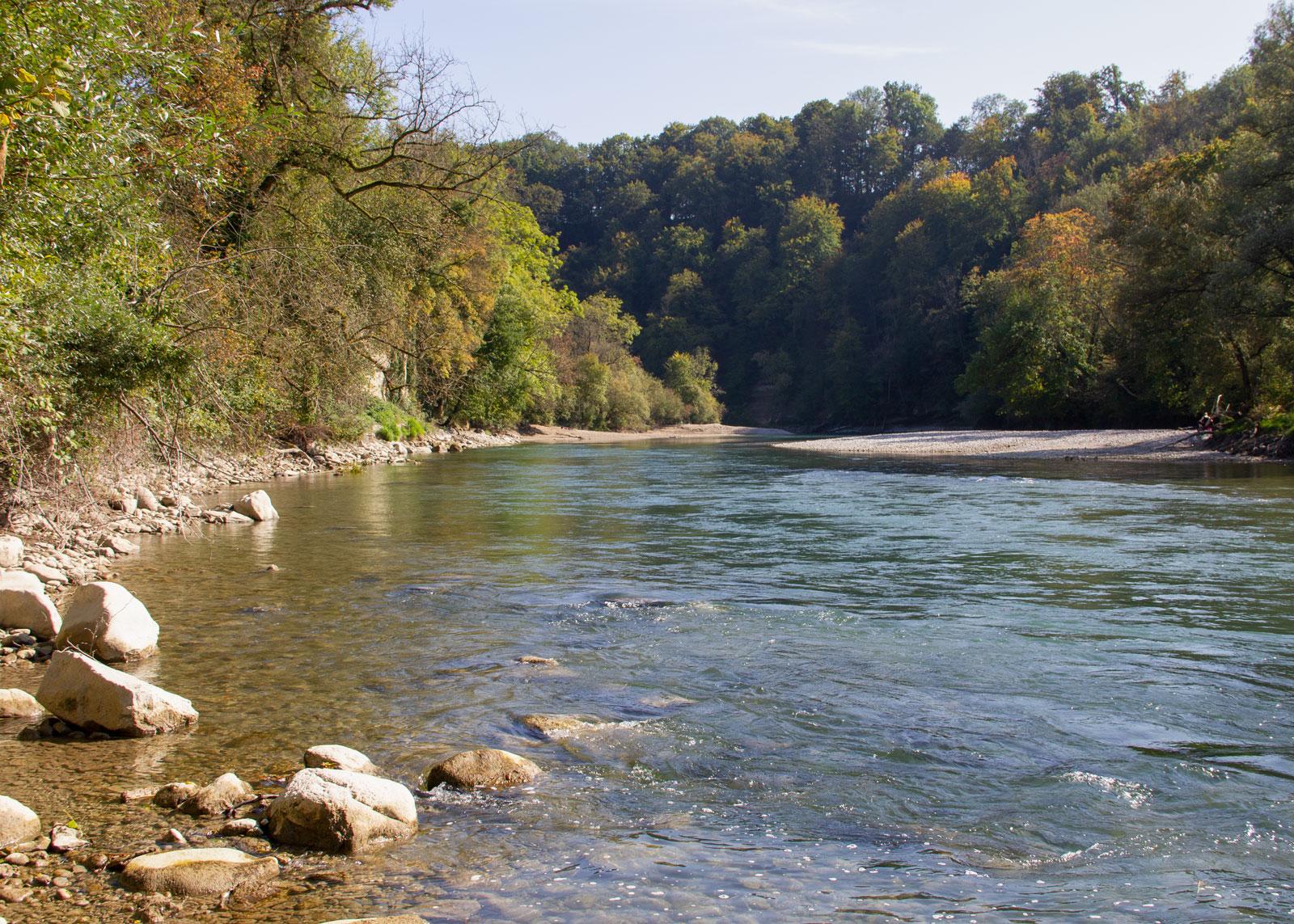 Wer den Wohlensee nicht befahren möchte, findet am linken Ufer vor der Felsenaubrücke gute Ausstiegsmöglichkeiten. Eine Bushaltestelle gibt es gleich neben der Brücke