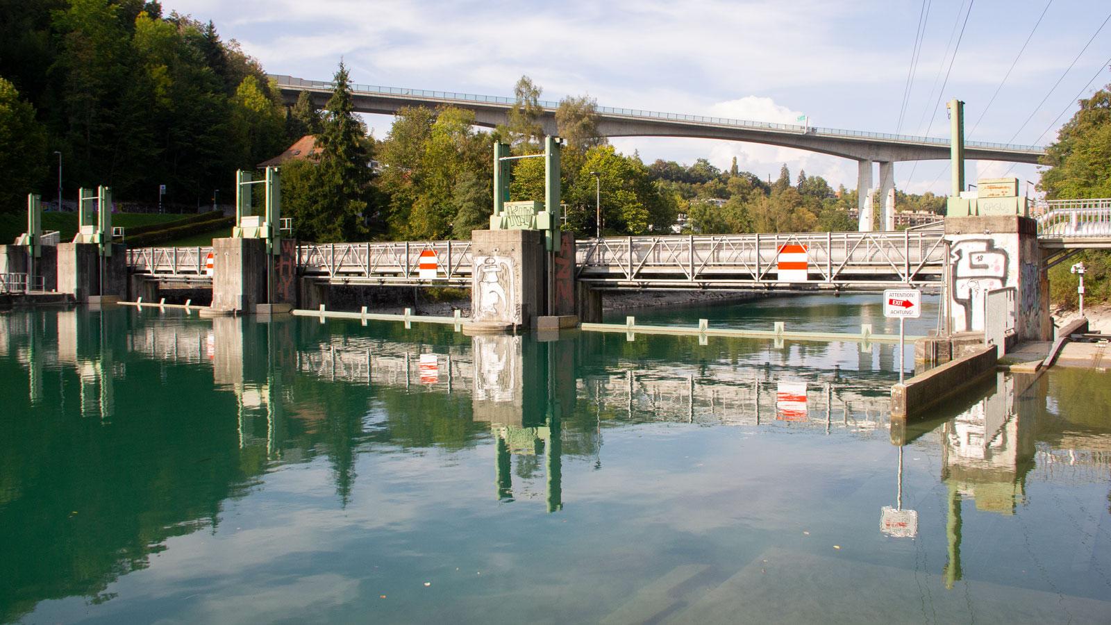 Am Stauwehr wird ein Grossteil des Aarewassers in den unterirdischen Zulaufstollen des Kraftwerks Felsenau ausgeleitet